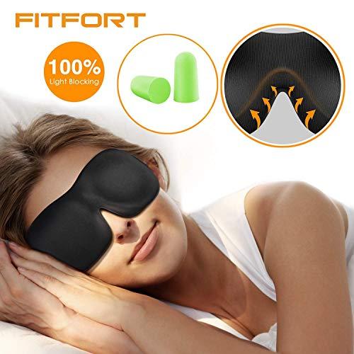 FITFORT Premium Schlafmaske 3D Schlafbrille - Augenmaske für Frauen & Herren Schlafen Bequem und Weich 100{173ea3c262a799bf45d1da829ce7b6c517612515089b43acb3bba006b180f83c} Blackout und Verstellbarem Gummiband Inklusive Ohrstöpsel Reise unerlässlich, Schwarz