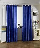 1 Paar Satin Garn Lichtdurchlässigkeit Inelastischer Polyester Fenster Vorhang Bildschirm Valance , treasure blue , 100*200 wear bar