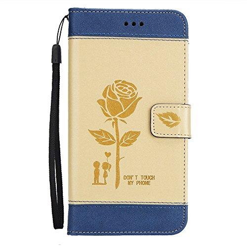 EKINHUI Case Cover Dual Color Matching Premium PU Leder Flip Stand Case Cover mit Card Cash Slots und Lanyard für Samsung Galaxy J710 ( Color : Gold ) Gold