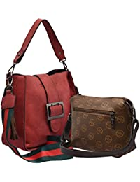 TAP FASHION Stylish PU Leather Women's 2Pcs (2in1 Combo Bag) Combo Of Handbag Satchel, Sling Bag For Ladies And...