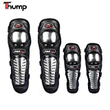 #8: Thump Knee Shin Guards Made of Alloy Steel Knee Pads Protector Flexible Breathable Adjustable Elbow Armor for Motorcycle Racing Mountain Bike One size Fits Most 4 Pieces Set- Black