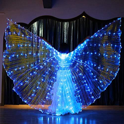 KT Mall LED Isis Flügel Erwachsener Bauchtanz-Performance-Partei-Engels-Flügel Mit Teleskopstöcke Karneval Halloween,A5#