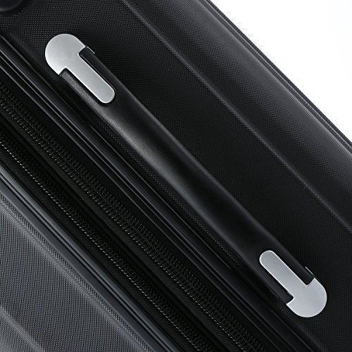 Zwillingsrollen 2050 Hartschale Trolley Koffer Reisekoffer in M-L-XL-Set in 12 Farben Schwarz