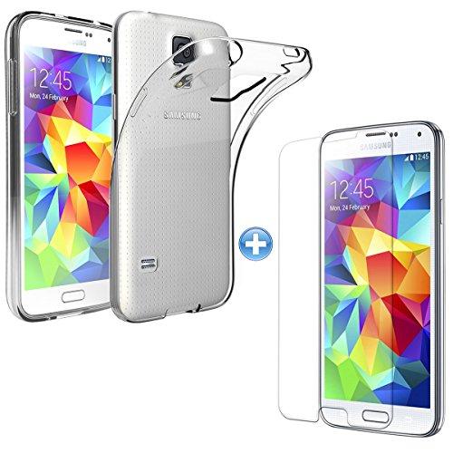 TMTmove® Samsung Galaxy S4 Silikonhülle Transparent Handyhülle Tasche Case Cover Bumper Etui + Panzer Glas Folie 9H