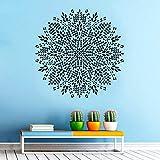 Pegatinas de pared familiares Mandala pegatina dormitorio decoración de yoga bohemio bohemio pegatinas de pared hogar y jardinería negro 57X57 CM