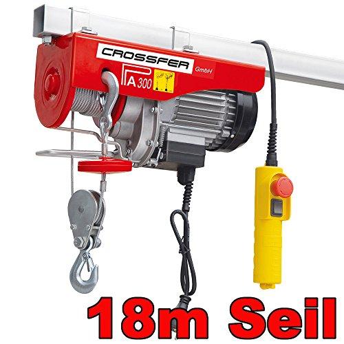 CROSSFER Elektrische Seilwinde Seilzug 150/300 Kg 18 Meter Stahlseil 230V