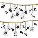 Papierdrachen DIY Adventskalender zum Befüllen - 24 Henkelkisten mit schwarz-weißen Zahlenaufklebern von 1-24 – zum selber Basteln und individuellen Gestalten – Weihnachten 2018