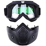 POSSBAY Motorrad Schutzbrille Staubschutz Brille + abnehmbar Gesichtsmaske winddicht für Outdoor Fahrrad Dirtbike Motocross Off-Road Goggle