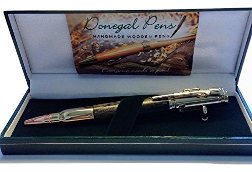 Kugelschreiber aus Holz, handgefertigt, Bolt-Action-Design, hergestellt in Irland aus Mooreichenholz
