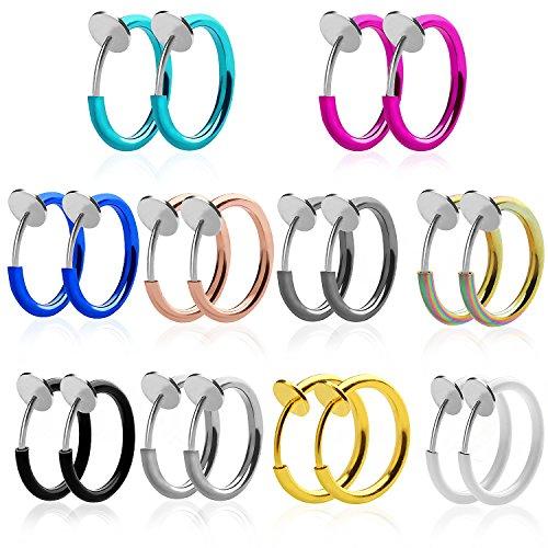 Outee 10 Paar Gefälschte Ohrringe Fake Nase Lip Ohr Ring Stud Hoop Piercing Punk Nicht durchbohrte Ohrring Hoops Body Jewellery für Männer und Frauen, 10 Farben (Nicht Durchbohrte Nase Ringe)