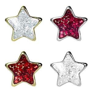 1 Paar Studex Erstohrstecker Chirurgenstahl Ohrringe Glitterline mit Stern