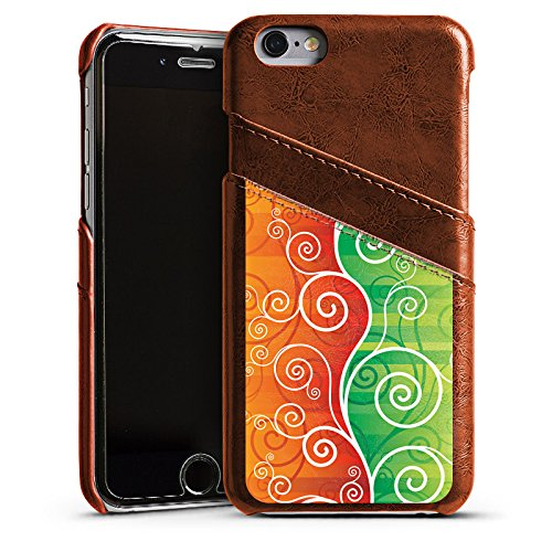 Apple iPhone 4 Housse Étui Silicone Coque Protection Floral Fioriture Vrilles Étui en cuir marron