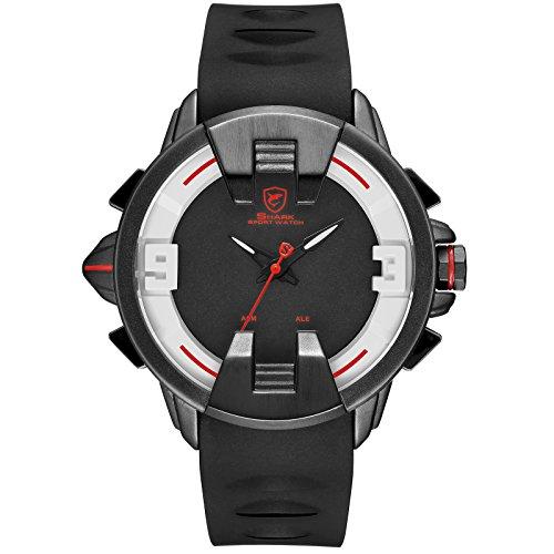 SHARK Quartz Homme Montre Bracelet Silicone LED Date Jour 24 Heures Afficher l'alarme