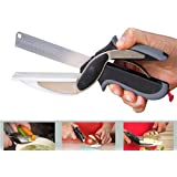 P YU Clever Cutter 2 In 1 Food Chopper Slicer Dicer Vegetable Fruit Cutter Kitchen Scissors Knife Board With Wall Mount