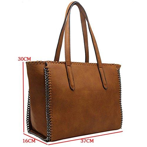CRAZYCHIC - Borsa a mano donna con catena e treccia sul contorno della borsa - Imitazione pelle Grande formato Tote shopper bag - Moda borsa a spalla grandi dimensioni e lunga maniglia Nero