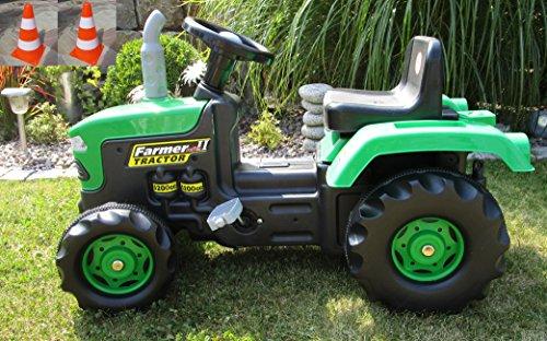 Kinder Trettraktor mit Anhänger Kindertraktor Tretauto Traktor und 2 Pylonen 8053-2 P