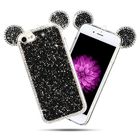 Coque iPhone 7 (5.0 pouce) , Bling Diamant Modèle TPU Case Noir Crystal Mignon Mickey Oreille Étui de Protection Flexible Soft Slim Souple Silicone Cover Anti Choc Ultra Mince Couverture Bumper Caoutchouc Gel Anfire Housse pour iPhone 7