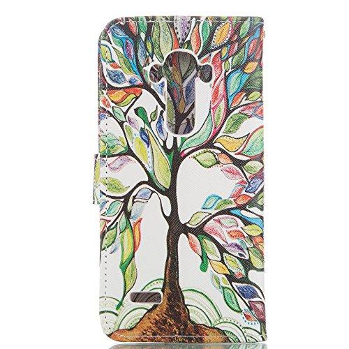 Ukayfe Custodia portafoglio / wallet / libro in pelle per iphone 6/6S (4.7 pollice) - Cover elegante e di alta qualità con porta carte di credito e banconote Stampa creativa Con Stilo Penna - acero ro pittura albero
