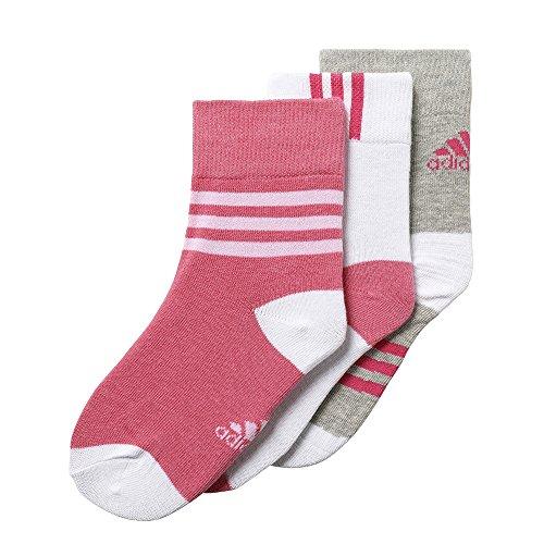 Socken Strümpfe Little Kids Ankle Socks 3Paar grau weiß pink, Größe:19-22 (Little Kid Store)