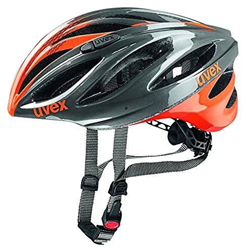 UVEX Erwachsene Boss Race Mountainbikehelm, Gray/Neon Orange, 55-60