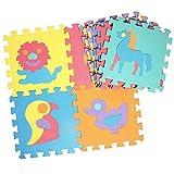 Puzzlematte für Babys und Kinder, EVA Spielteppich 10 Schaumstoffplatten mit Tieren Bodenpuzzles, Nicht Giftig, Schadstofffrei