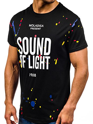 BOLF Herren T-Shirt Tee Print Slim Fit Kurzarm Party Classic MIX 3C3 Motiv Schwarz_S031