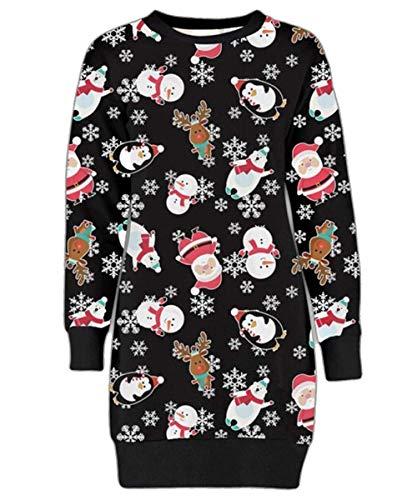 Mymixtrendz. Damen Damen Weihnachten Rentier Wand Ho Ho Santa Schneemann Weihnachten Pullover Kleid Sweatshirt (ML (EU 40-42), Polar Bear Black)
