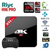 Riyc Amlogic S912 TV Box H96 PRO Android 6.0, 3 Go/16 Go, Octa Core 4K UHD 3D Kodi 17.0 préinstallé, double WiFi 2.4G/5G, Bluetooth 4.0, 1000 m, Ethernet, lecteur multimédia en streaming, H96 pro 3G+16G With White i8 Keyboard