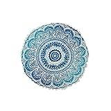 WJX&Likerr Runde Indische Mandala-Muster Sitzkissen, Dick Kissen Home Bodenkissen Futon Sofa dämpfung Stuhlkissen Auto-Kissen Polyester-gewebe-blau 50x50cm(20x20inch)