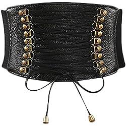 V-SOL Cinturón Mujer Ancho Cintura Atado Hueco Talla Única Negro