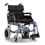 Sehr luxuriöser Transport-Rollstuhl, zusammenklappbar, leicht, hat Crashtests bestanden - mit Kissen (45 cm)