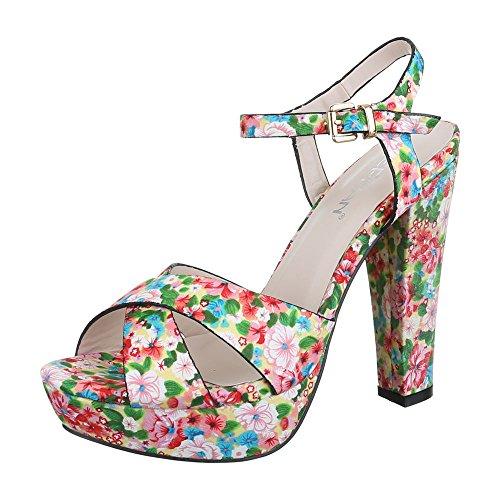 High Heel Sandaletten Damen Schuhe Plateau Pump High Heels Schnalle Ital-Design Sandalen / Sandaletten Weiß Multi, Gr 39, 11-13- (Sandalen Multi-schnalle)