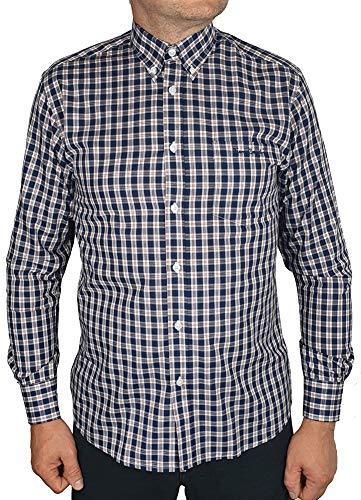 Pierre cardin uomo camicia a quadri o stampata a maniche lunghe con ricamo esclusivo (xl, navy/red)