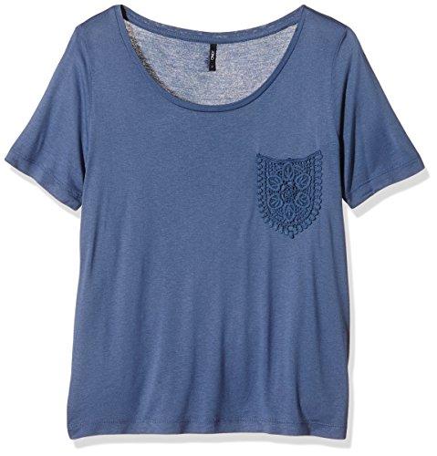Only Damen T-Shirt Onlida SS Pocket Top ESS Blau (Bijou Blue)