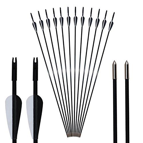 Toparchery Bogen Pfeile Fiberglaspfeile 12er Pfeile für Bogenschießen 31 Zoll Pfeil und Bogen für Jugendliche