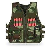 Gilet Nerf Kit Veste Tactique Enfants Set Gilet avec 10PCS Fléchettes en Mousse Accessoires pour N-strike Elite Série Jeux CS Jouet Pistolets(Camouflage)