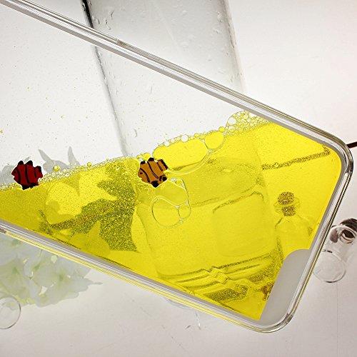 """Coque pour iPhone 6 4.7"""", ISAKEN Transparente Liquide Aquarium Design Poisson Dauphin Natation Plastique Arrière Protecteur Dur Etui Housse de Protection Étui Coque Case Cover pour Apple iPhone 6 4.7  Poisson Jaune"""