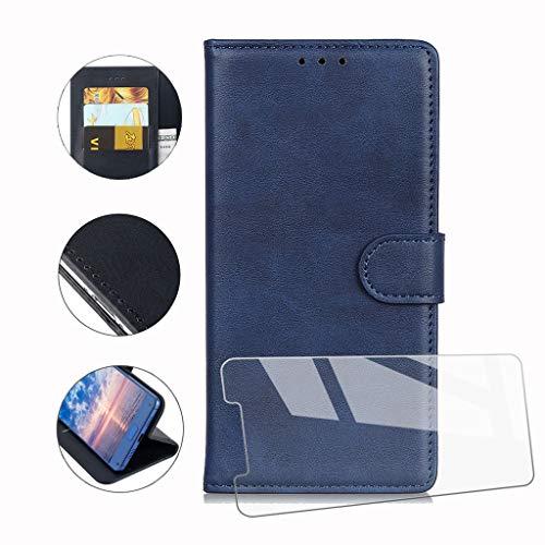 Hymy cover per wiko y60 + vetro temperato - blu semplice pu pelle + tpu multifunzione wallet slot custodia flip case per wiko y60 (5.45