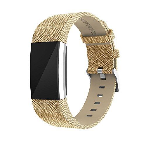 Ersatz-Armband für Fitbit Charge 2 ,COLORFUL Glänzendes Leder Ersatzarmband Uhrenarmband Replacement Wechselarmband watch band für Fitbit Charge 2 (Gold)