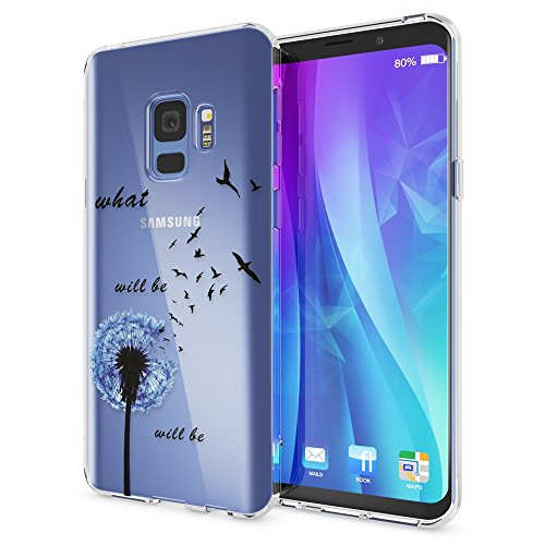 NALIA Handyhülle kompatibel mit Samsung Galaxy S9, Slim Silikon Motiv Case Crystal Schutzhülle Dünn Durchsichtig, Etui Handy-Tasche Back-Cover Transparent Bumper, Designs:Dandelion Blau