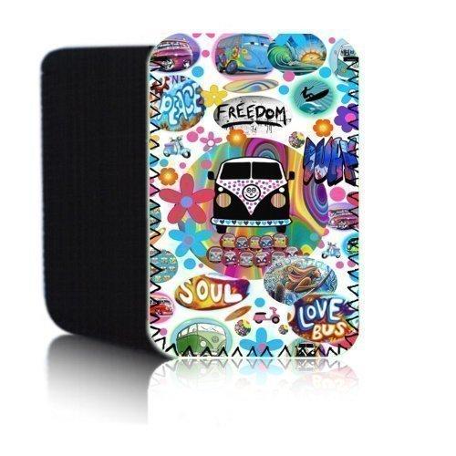 RETRO Bus ' (weiß) PPW Schutzhülle für AMAZON KINDLE 4 & 5 (2012, 2013 2014 &) Tablet - Stoß - und wasserfest Dreibeinen Neopren - schneller Versand - UK