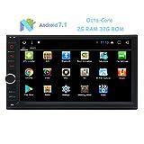 7' stéréo voiture HD écran tactile avec Android 7.1 Nougat Système Octa-Core 2G RAM double Din GPS En Dash Navigation Radio Car Auto récepteur WiFi support / 1080P vidéo / MirrorLink / OBD2 / Direction de contrôle de roue