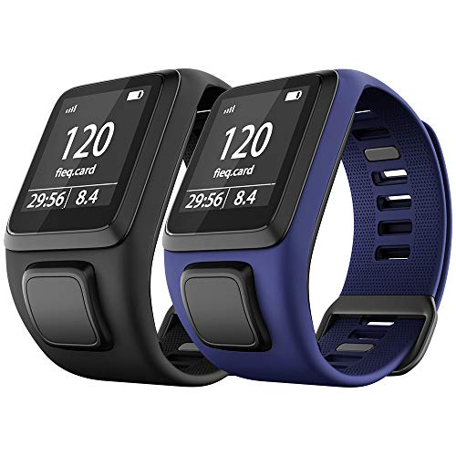 NotoCity Tomtom Runner 3 Armband/Runner 2/Spark 3/Adventurer/Golfer 2 Uhrenarmband Silikon Uhrenbänder für Tomtom Watch(Schwarz + Dunkelblau