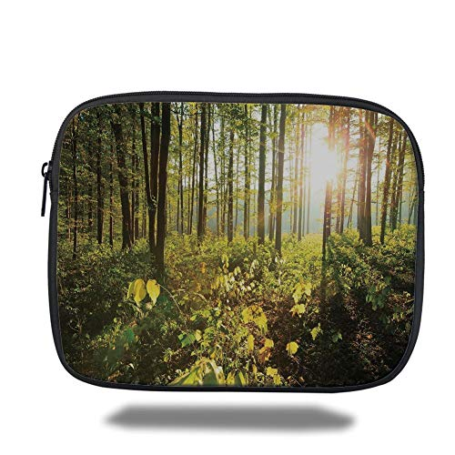 Tablet Bag for Ipad air 2/3/4/mini 9.7 inch,Forest,Trees Sun Rays in Woods Foliage Greenery Scenic Outdoors Tranquil Untouched,Green Yellow Brown,3D Print