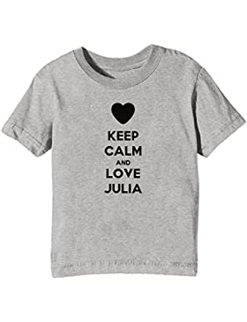 Keep Calm And Love Julia Bambini Unisex Ragazzi Ragazze T-Shirt Maglietta Grigio Maniche Corte Tutti Dimensioni...
