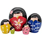 "Cute Adorable Japanese Little Girls Wear Kimono Style Egg Shape Handmade Russian Nesting Dolls Matryoshka Kokeshi Set 5 Piece 3.9"" For Kids Toy Birthday Christmas Gift Home Decoration"