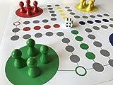 Raus Hier! Riesen-Ludo, Ludo XL, extra großer Spielplan + Riesen-Spielfiguren (Größe XL, Farbe: rot-gelb-blau-grün). Riesen-Spiel für Veranstaltungen, Brettspiel für Senioren, Kindergärten, Schulen