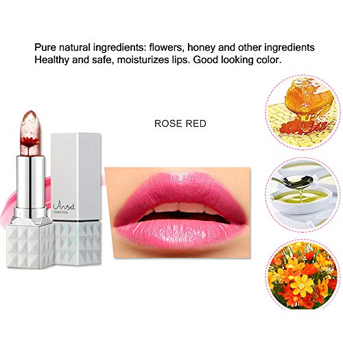 Jelly Lipstick,Richoose Flower Temperature Color Changing Lipstick Waterproof Long Lasting Moisturizing Lip Balm Angel temptation Lip Gloss For Girls Mother's Day Gift