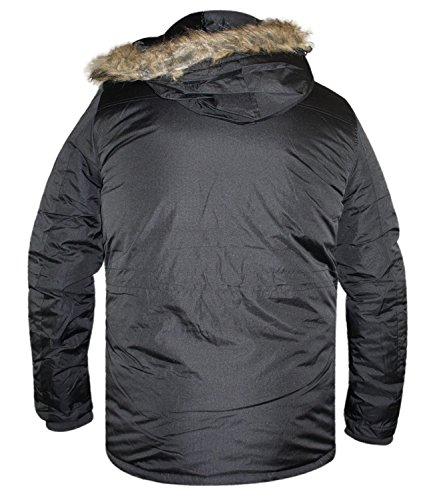 Mens Crosshatch Parka Heavy Padded Jacket Winter Fur Hooded Lined Coat Black