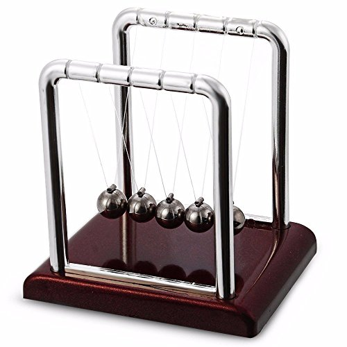 Futurekart™ Newton Cradle Pendulum Swing Balance Ball Decoration for Home & Office Classic Desk Toy - Brown(Small,7.5*9*9cm)